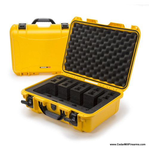 Nanuk 925 Waterproof TSA Safe case QUAD Glock, 1911, SIG, Ruger, 4-UP - Yellow Impact proof and water resistant hard case