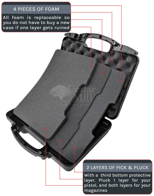 Pick & Pluck Pistol Case displaying  2 layers pick and pluck foam and eggshell foam