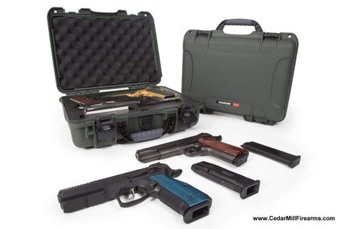 Nanuk 910 Waterproof TSA safe double case open and top view with 1911 pistols