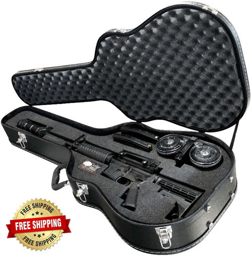 Discreet Concealment Guitar Rifle Case  open top with a Colt 6920 suppressed AR-15