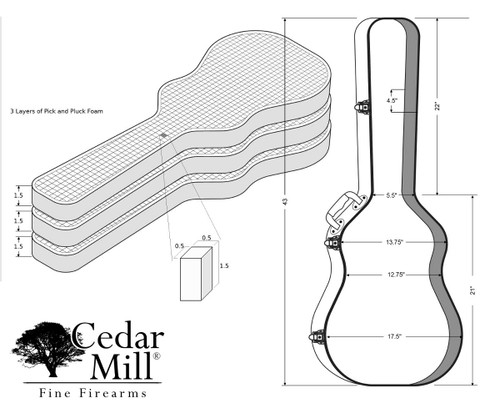 Discreet Concealment Guitar Rifle Case dimensions for top to bottom, interior and side to side