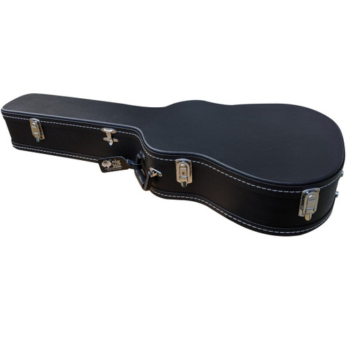 Discreet Concealment Guitar Rifle Case front side view displaying its elegant premium leather bound body with stainless steel locking latch on the sides
