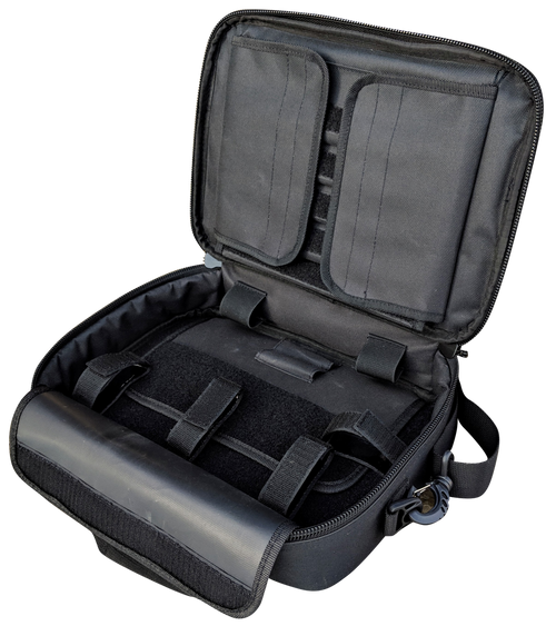 Deluxe Double Soft Tactical Pistol Case open top angle displaying its thick padding and its hook and loop velcro system and pockets