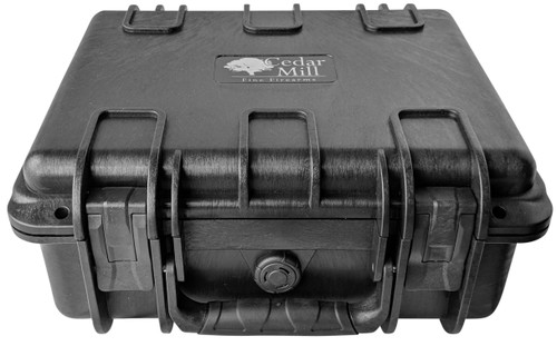 4 Pistol Case top front view with heavy-duty handle, durable latches, 2 large locking holes, and pressure release valve