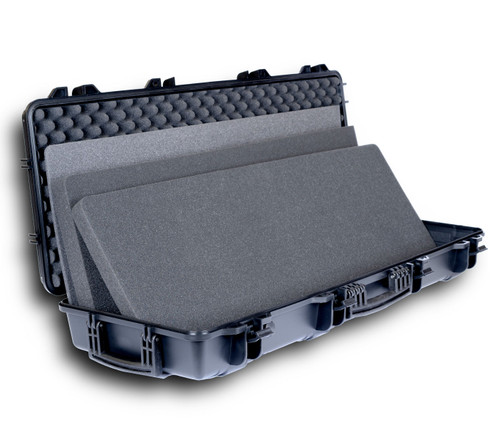 Slim Double Rifle Case open with 2 layers of thick high-quality foam, 1 layer of foam lining and egg crate foam