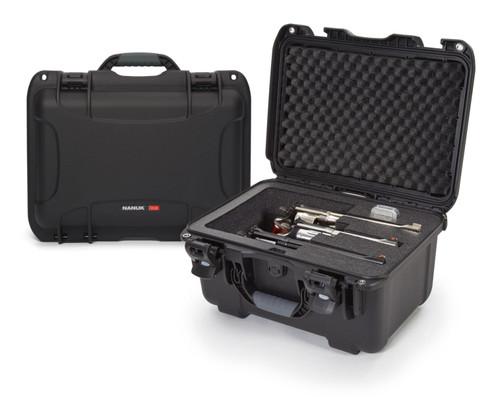 Nanuk 918 Case with custom foam insert for 3 revolvers