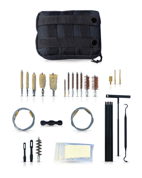 The  All-In-One Ultimate Tactical Rifle, Shotgun and Pistol complete with a 5 pcs pushrods + swivel T-handle, a flex cable, spring brush, brass brush, mops, 25 pcs Patches and plastic pic for a superior firearm clean.