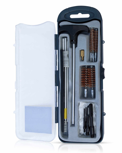 The Premium Tactical Shotgun, Pistol, and Rifle Cleaning Kit, complete with our high-grade brass brushes, metal ends, 25 pcs patches and 4pcs gun cleaning rod with T-handle.