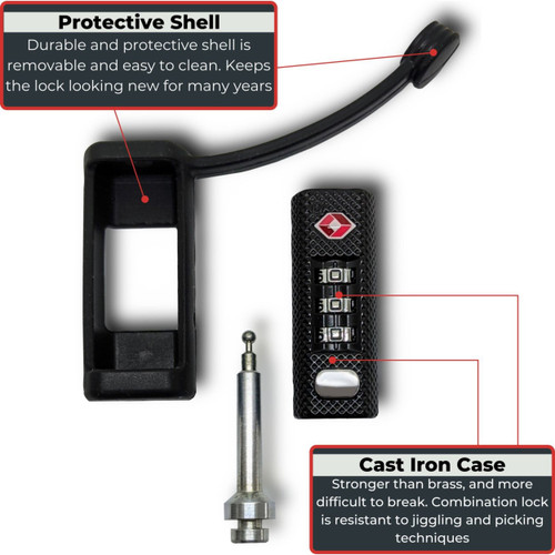 Secure travel with the Gun Case Lock  high quality three-dial combination lock that is easy to set up and protected with cut resistant rubber sleeve.