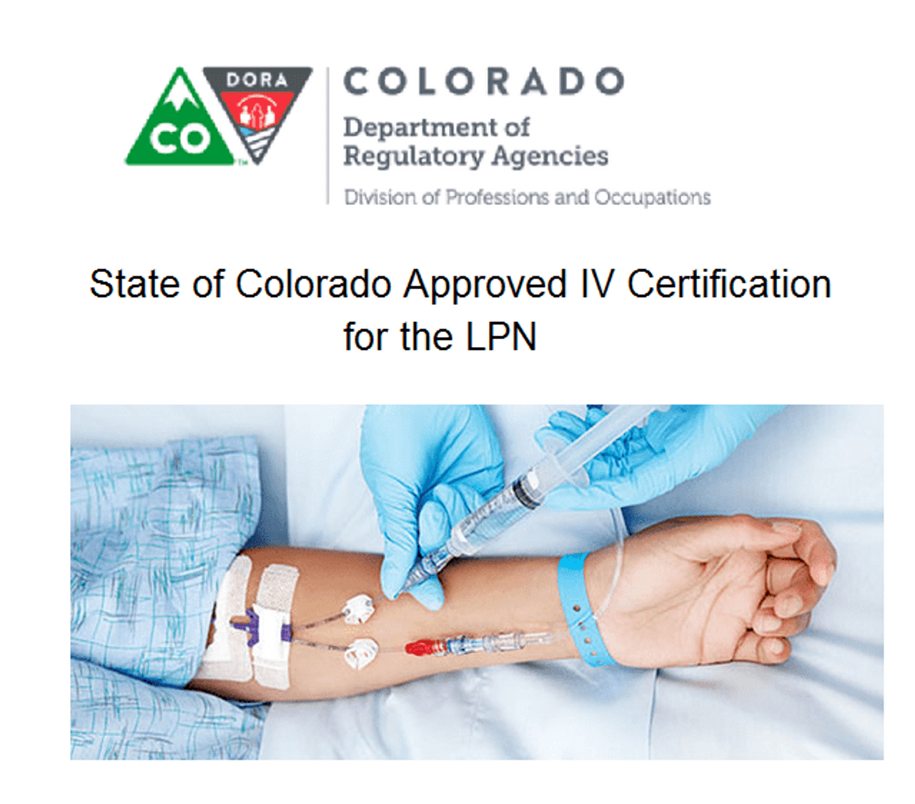 Iv Therapy And Fluid Therapy Certification Course For The Lpn And Medical Assistants State Of Colorado Approved Not For Emts At This Time