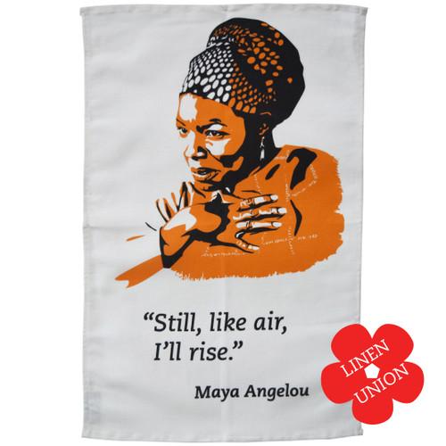 Maya Angelou 'Still I rise' Linen Union Tea Towel