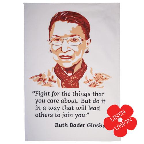 Ruth Bader Ginsburg Linen Union Tea Towel