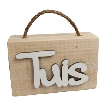 Wooden Doorstop with White Word - TUIS
