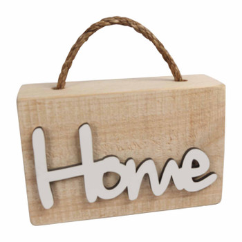 Wooden Doorstop with White Word - HOME