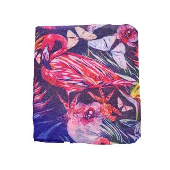Flamingoes On Blue Viscose Scarf (90x180cm)