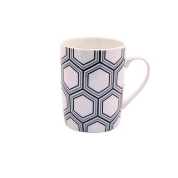 Ceramic Mug - Black & Grey Honeycomb - 350ml