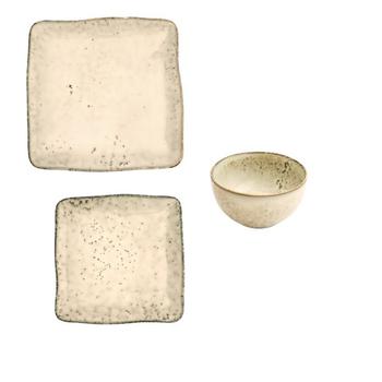 Ceramic Dinnerware - Beige & Dark Brown