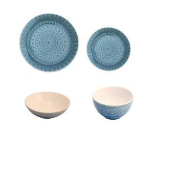 Ceramic Dinnerware - Blue Grey Mandala