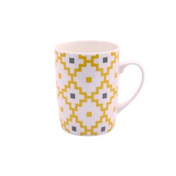 Ceramic Mug -  Mustard Pixel design - 350ml