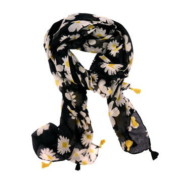Black With Daisies Polyester Scarf (90x180cm)