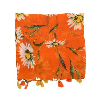 Orange White Daisy Polyester Scarf (90x180cm)