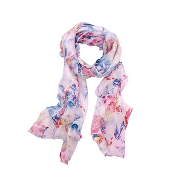 Pink Flowers Blue Leaves On Pink Viscose Scarf