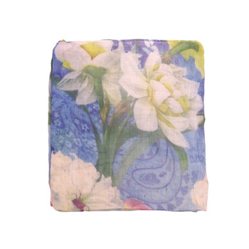 White Flowers on Blue Pattern Viscose Scarf