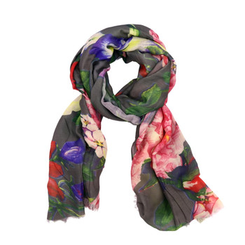 Red and Purple Tulip Flowers on Grey Viscose Scarf