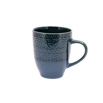 Ceramic Mug - Dark Blue Aztec Pattern - 350ml
