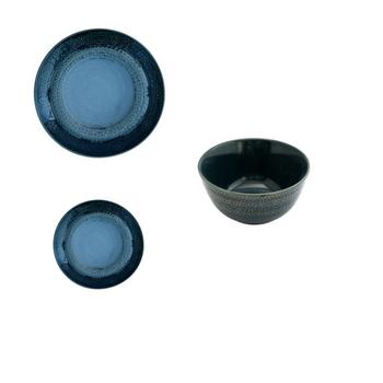 Ceramic Dinnerware - Dark Blue Aztec Pattern