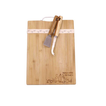 Engraved Bamboo Board - Home is Where the Heart is
