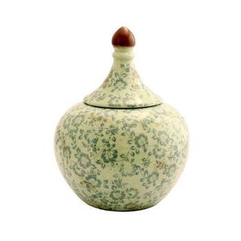Green Floral Pattern Ginger Jar (22.5x22.5x29.5cm)