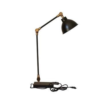 Matt Black Powder Coating & Brushed Brass Desk Lamp (65cm)