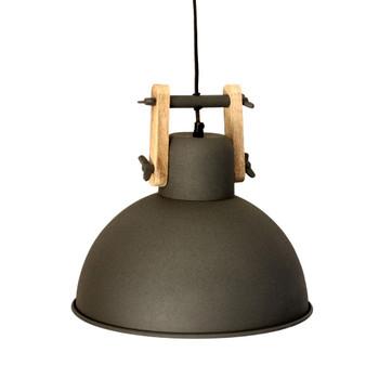 Charcoal Grey Iron Textured Light with Mango Wood finish (36cm)
