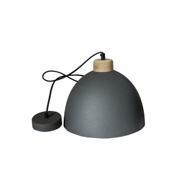 Charcoal Iron Textured Light with Wood finish (28cm)