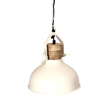 Matt White Iron Light with Wood & Iron finish (29cm)