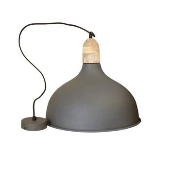 Grey Iron Textured Light with Mango Wood finish (41cm)