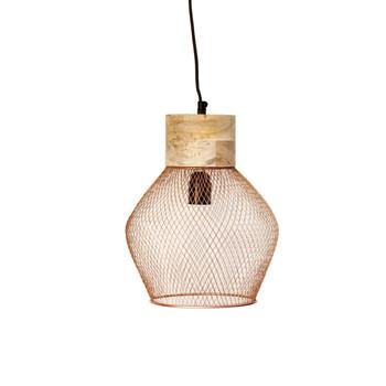 Copper-plated Iron Mesh Hexagon Light with Mango Wood finish(18cm)