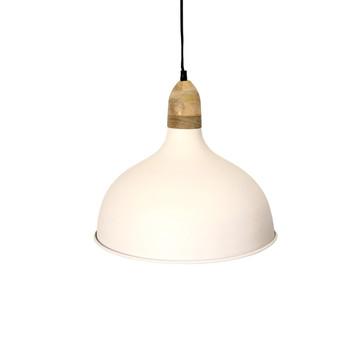 White Iron Textured Light with Mango Wood finish (16x41cm)