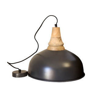Matte Grey Iron Light with Wood finish (40cm)