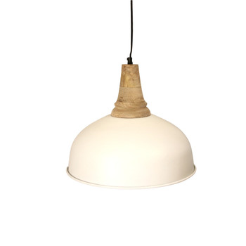 Matte White Iron Light with Wood finish (40cm)
