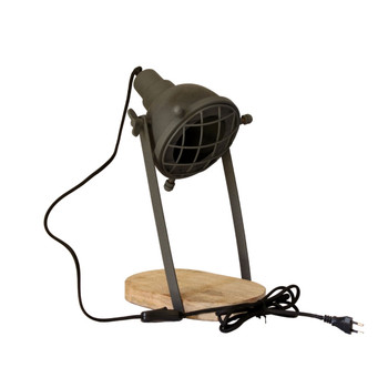 Grey Iron Textured Desk Lamp with Wooden base (39cm)