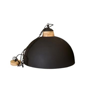 Black Textured Iron Light with Mango Wood finish (60cm)
