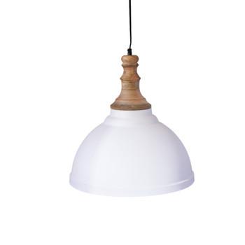 White Iron Textured Light with Wood finish (42cm)