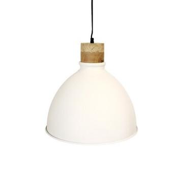 White Iron Textured Light with Wood finish (40cm)