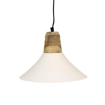 White Iron Textured Light with Mango Wood finish (32cm)