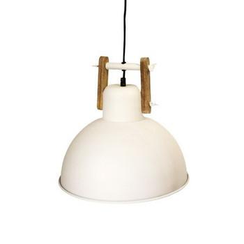 White Iron Textured Light with Wood finish (36cm)