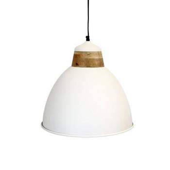 White Textured Iron Light with Mango Wood finish (40cm)