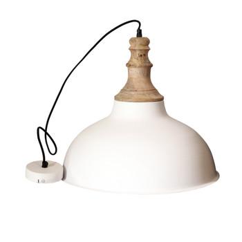 White Textured Iron Light with Mango Wood finish (46cm)