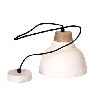 White Iron Textured Light with Wood finish (22cm)